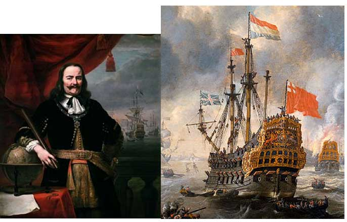 Almirante Michiel de Ruyter y HMS Royal Charles