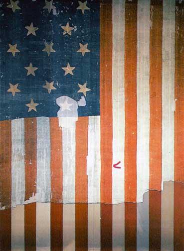 bandera de Estados Unidos usada en el fuerte Mac henry