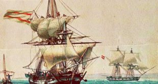 buque mercante español de principios del siglo XIX, pintado por Antoine Roux