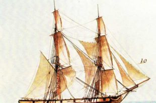 Corbeta Les Amis, pintado por Frederic Roux.