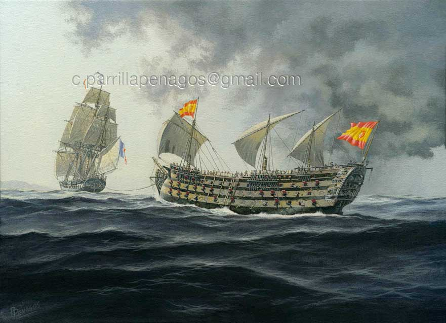 Pintura del navío Santa Ana. De Carlos Parrilla.