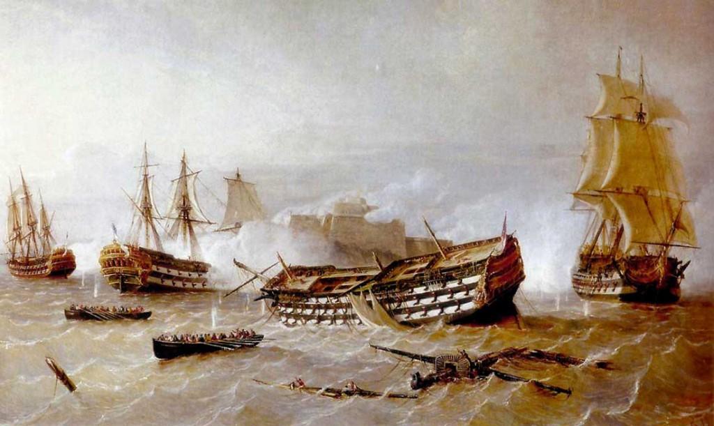 Ataque de navíos británicos al castillo del Morro, en 1762