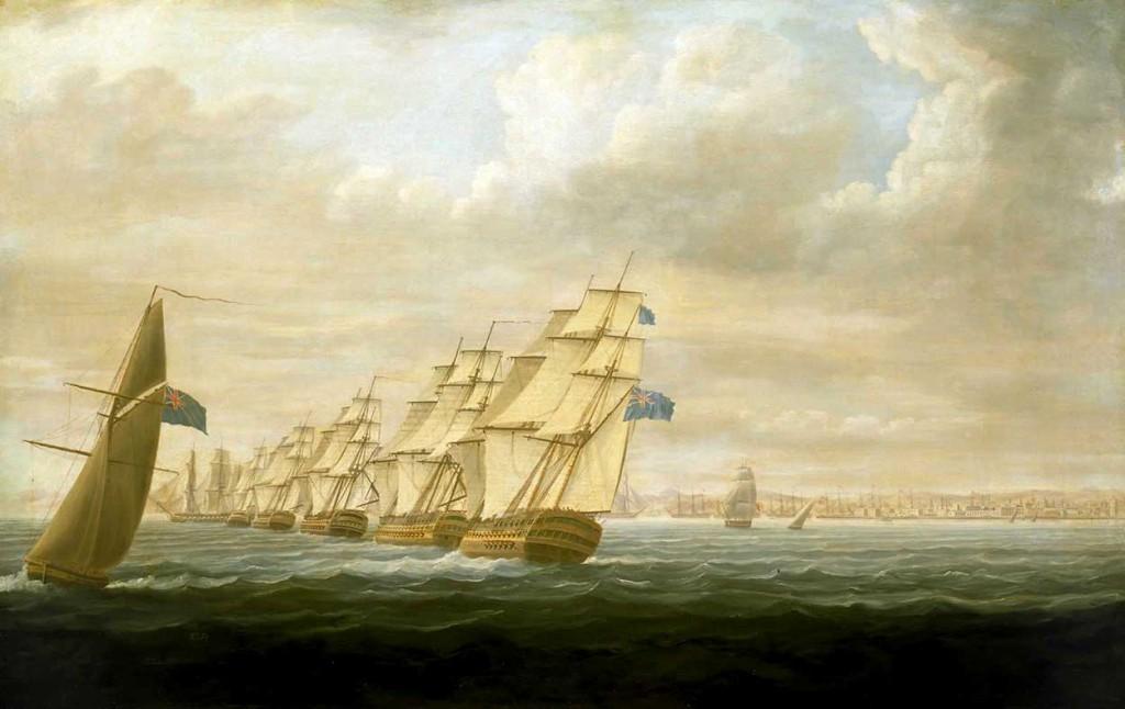 Escuadra británica al mando de Nelson bloqueando Cádiz en 1797