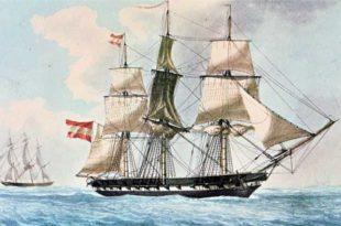 fragata española de 1830 pintada por Antoine Roux