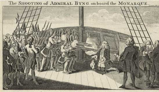 Fusilamiento del almirante Byng a bordo del Monarch