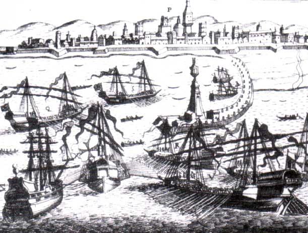 Galera española remolca una presa. Antonio de Quiñones.
