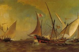 Jabeque al mando de Antonio Barceló en combate contra los argelinos
