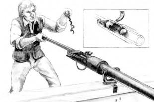 Marinero disparando un pedrero