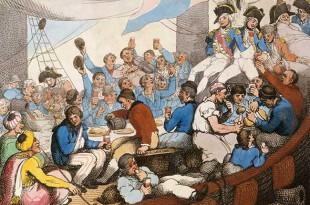 Marineros británicos comiendo y bebiendo a bordo de un navío de línea