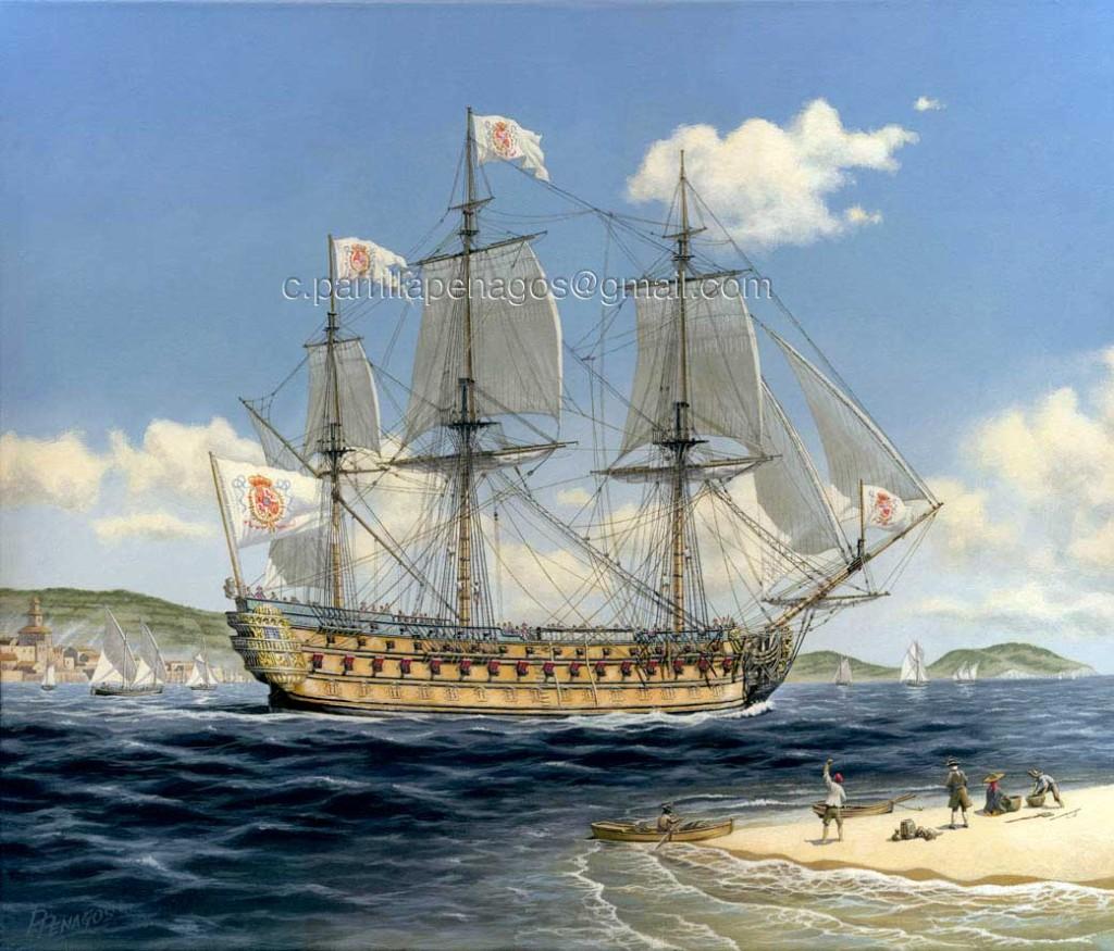 Pintura de Carlos Parrilla sobre el navío Real Felipe, de 114 cañones.