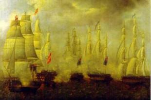 Navío San Francisco de Asis, combatiendo contra cuatro fragatas británicas