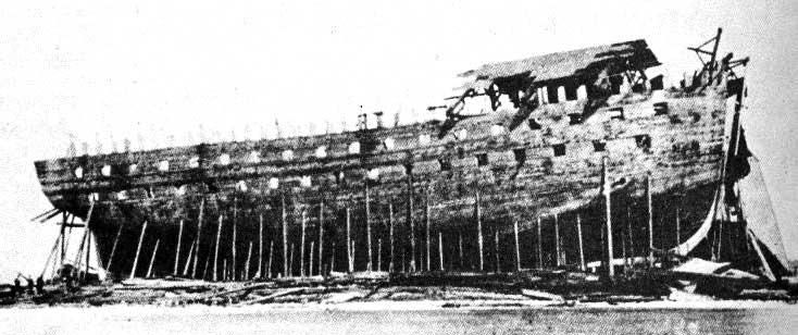 navío USS Chippewa en construcción