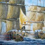 Navío Santísima Trinidad navegando con el San Rafael. Pintura de Rafael Castex