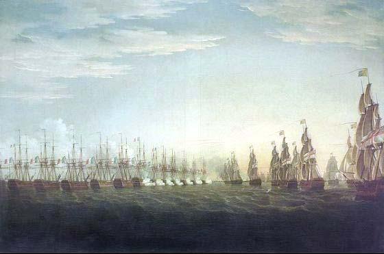 La escuadra britanica de aproxima a la francesa