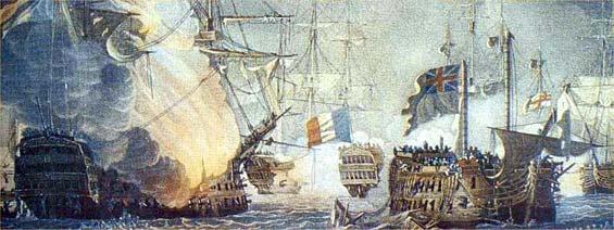 Navio Orient en llamas junto al HMS Bellerophon