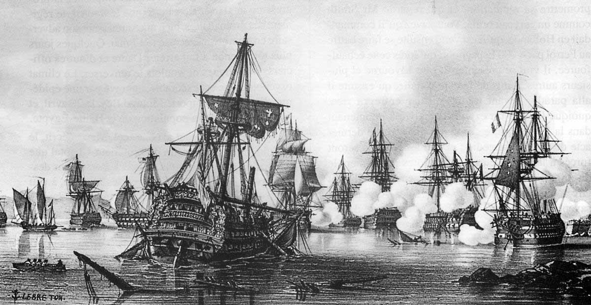 """En esta pintura de Louis Lebreton se puede observar en primer plano al navío británico """"Hannibal"""" de 74 cañones encallado e inmóvil, quedando finalmente apresado tras ser desmantelado y con muchísimas bajas, al ser acribillado por la batería de Santiago."""