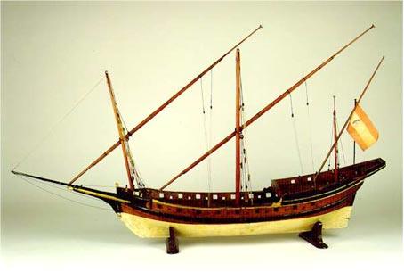 Modelo de jabeque de la Real Armada española (s. XVIII). Núm. de catálogo: 367. Museo Naval de Madrid.