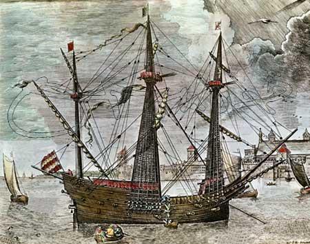 Vista de un galeón por su través de estribor, parecido a los utilizados en la conquista de la Isla Tercera de 1583. Grabado por Frans Huys de un original de Pieter Brueghel.