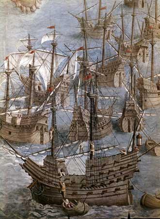 Detalle del cuadro Expedición a las Islas Terceras (1583). Real Monasterio de El Escorial. Obra de Granello, Tavarón, Castello y Cambiasso. [TAB]