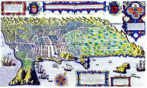 Mapa de 1595 realizado por Linschoten sobre la Isla Tercera.