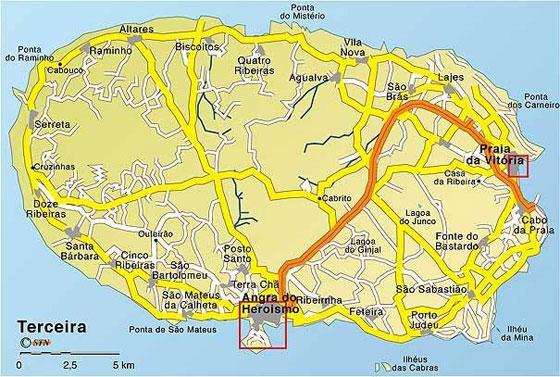 Mapa actual de la isla Tercera (Ilha Terceira).