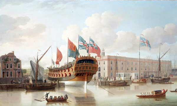 Botadura del navíoSt. Albansde 60 cañones en Deptford, 1747. Pintado ese mismo año por John Cleveley.