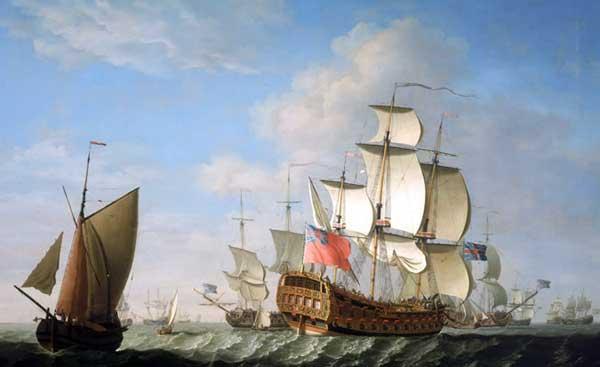Escuadrón británico navegando. Pintado en 1740 por Francis Swaine. National Maritime Museum, London. El navío representado en primer plano es un 50 cañones.