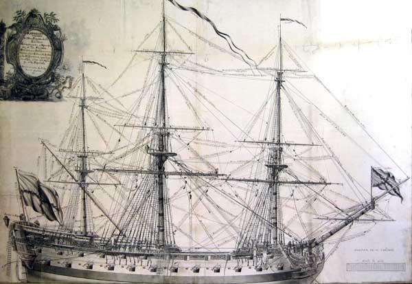 Muchos navíos españoles no eran tales, sino fragatas de dos baterías como la de la imagen, que representa una fragata española de 52 cañones