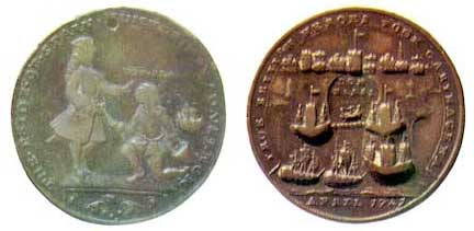 """Medallas británicas conmemorativas realizadas por los comerciantes de Londres, tras saberse por Vernon una """"victoria"""" cuando todavía estaban en curso las operaciones militares."""