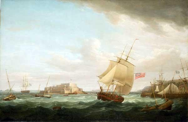 Un mercante y otros buques cerca de Castle Cornet, Guernsey