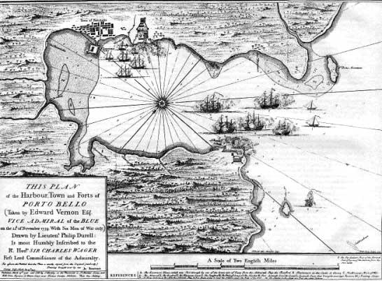 Plano británico del ataque a Portobelo. A lo largo de la historia los británicos han inflado sus victorias sin ningún tipo de pudor. Esta de Portobelo es quizás una de las más llamativas.