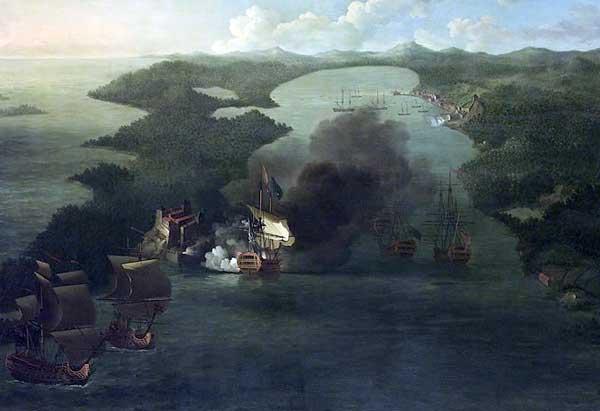 """""""The Capture of Puerto Bello, 21 November 1739"""", pintado por Samuel Scott en 1740. National Maritime Museum, London. En esta panorámica destaca el navío de Vernon, elBurford, disparando al Castillo de Todofierro."""