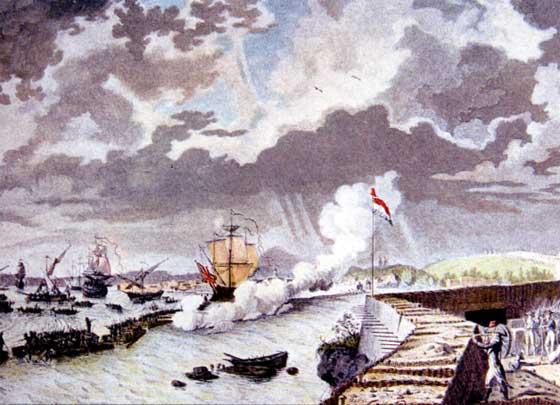 Para poder disparar sin poner en riesgo los buques los aliados idearon unos pontones o pequeñas plataformas de tiro frente a las baterías de los franceses. Lamentablemente sólo sirvieron como entrenamiento para los tiradores de Napoleón.