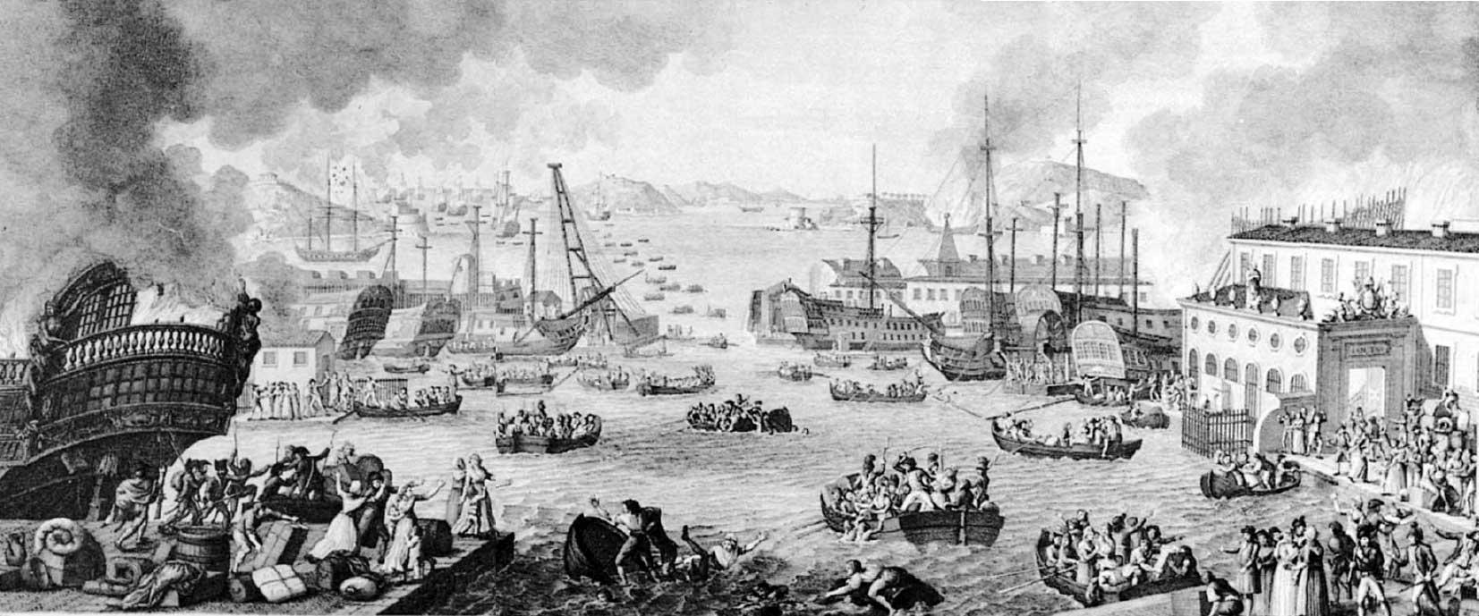 Vista de la evacuación de Tolón el 18 de diciembre de 1793