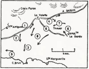 Gráfico de los combates del día 15 de octubre, en la zona de La Valette-la-Garde-Cabo Brun