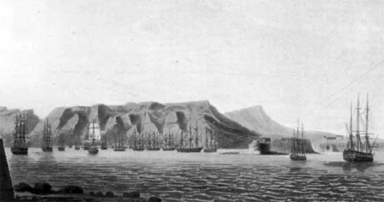 La escuadra aliada ocupa el cabo Brun, en octubre de 1793. Pintura del Museo Marítimo de Londres.