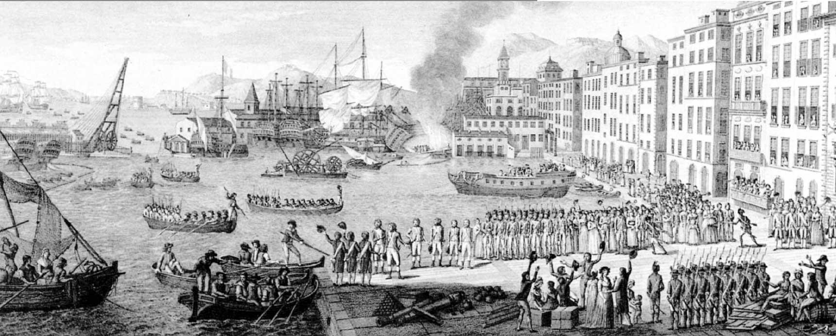 Momento de la llegada de los aliados a Tolón bajo la aclamación popular de los toloneses realistas.