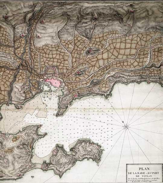 Plano de la Rada y del puerto de Tolón en 1793.