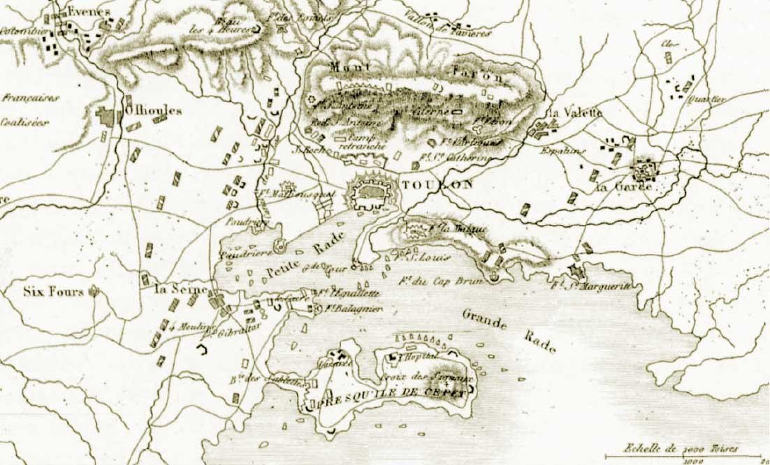 Mapa del Sitio de Tolón (Toulon) con los emplazamientos de artillería y las unidades navales.