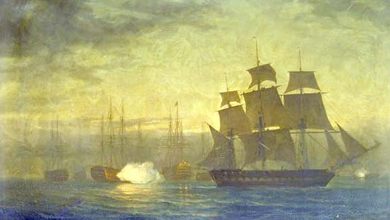 HMS Clyde abandonando el motín en el Nore, 1797