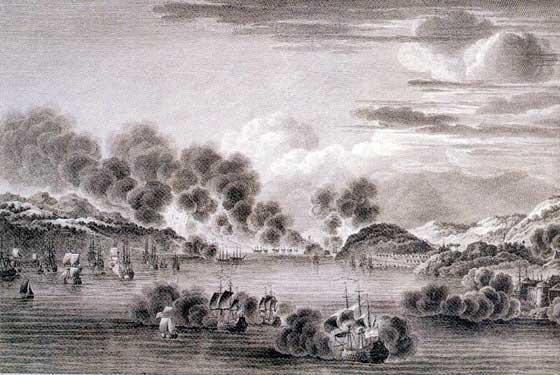 Grabado francés de la batalla