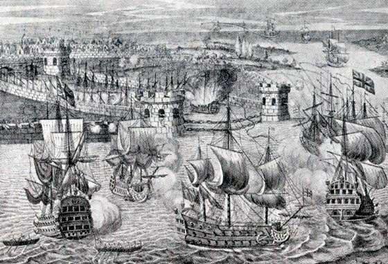 Grabado de la batalla inglés