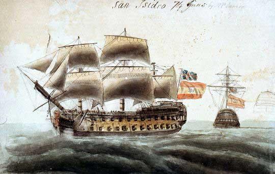 Acuarela del San Isidro capturado por los británicos.