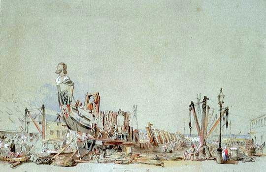 Acuarela del HMS San Josef siendo desmantelado en 1849