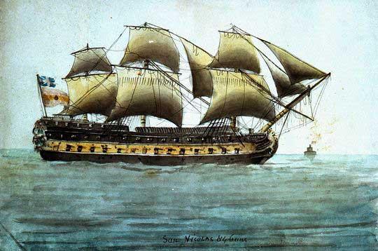 Acuarela del San Nicolás capturado por los británicos