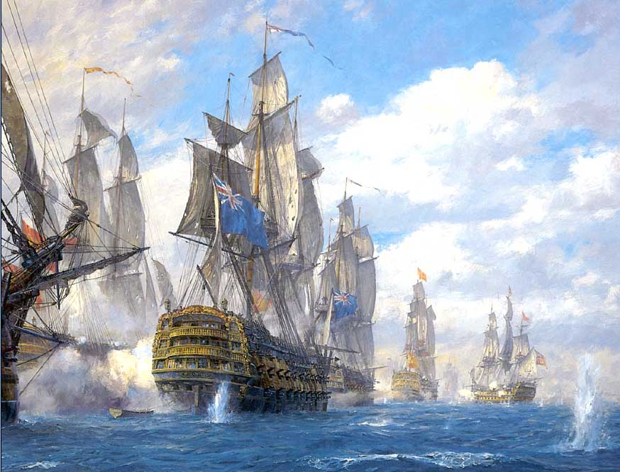 La escuadra británica de Jervis atacando a la española en los primeros compases de la batalla.