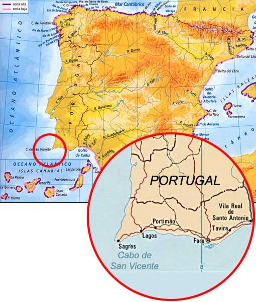 Mapa con la situación del cabo de San Vicente donde se libró el combate, en el extremo meridional del Algarve portugués.