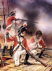 Ilustración de soldados británicos del Regimiento de Infantería de línea nº 69 en un combate naval