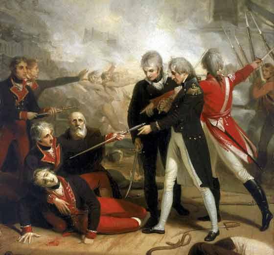 En esta pintura, quizás con gestos demasiado teatrales, muestra el momento en el cual un oficial español entrega su espada en señal de rendición