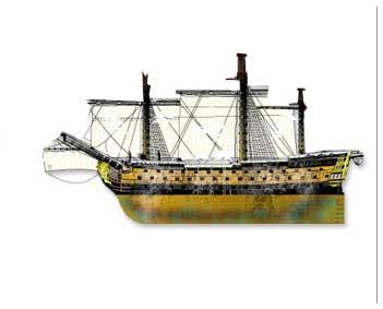 Daños materiales en el Navío Salvador del Mundo en la batalla de San Vicente del 14 de febrero de 1797